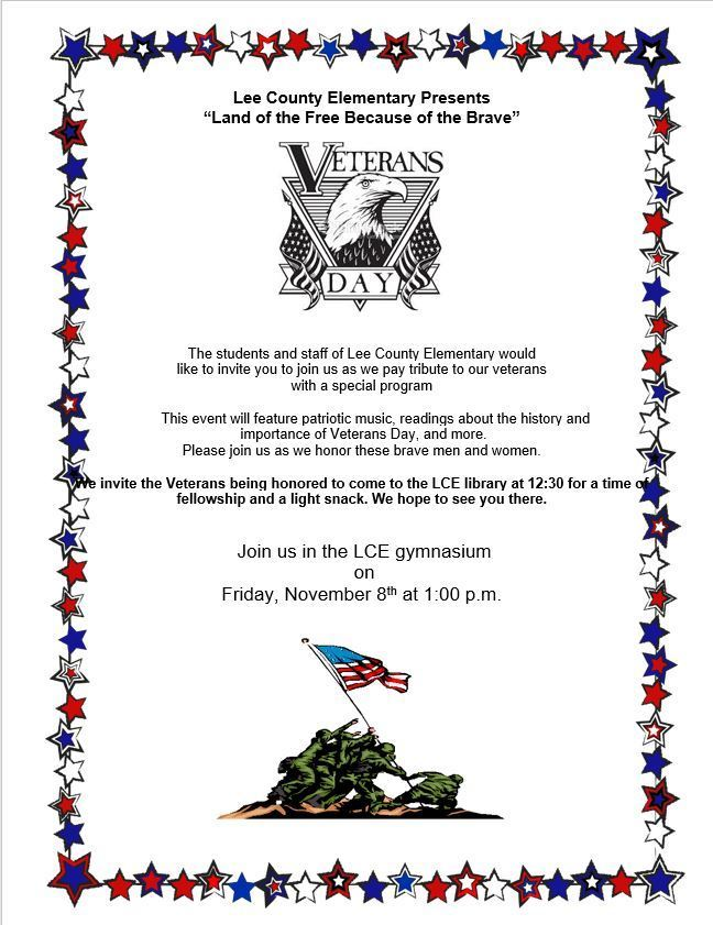 Lee County Elementary Veterans Day Program