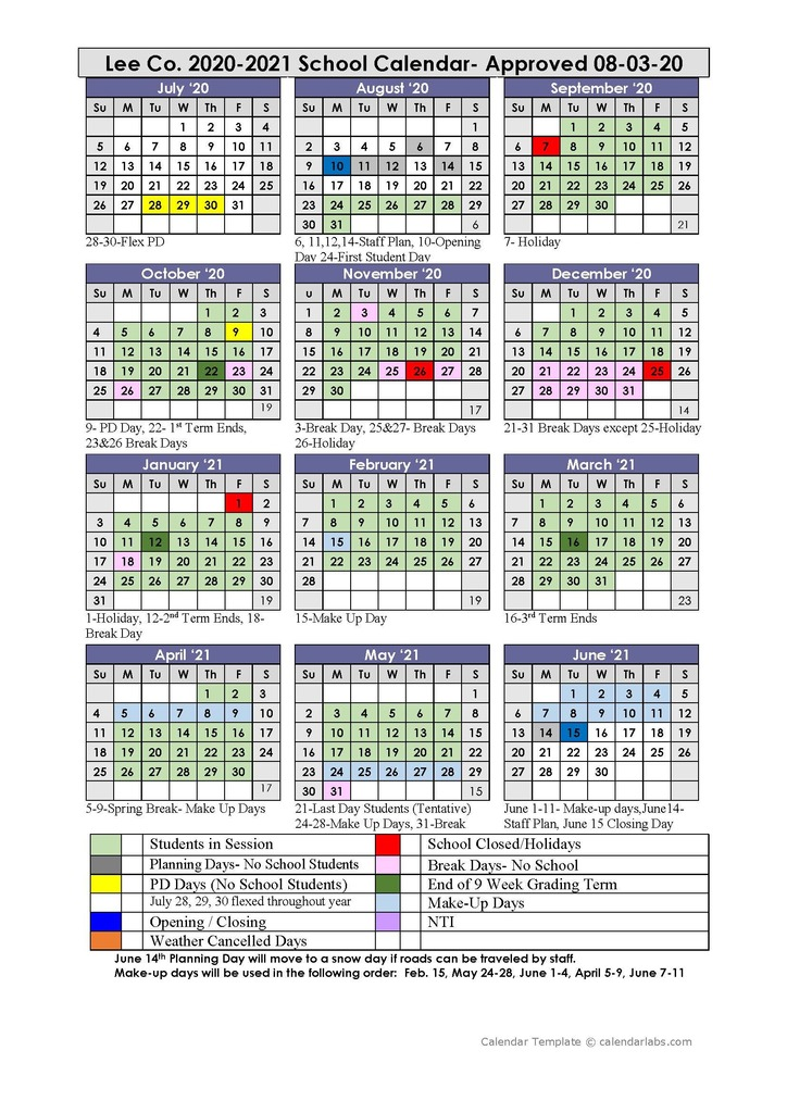 August 3 Approved Calendar